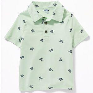"NWT Green ""Turtles"" Short Sleeve Polo Shirt 12-18m"